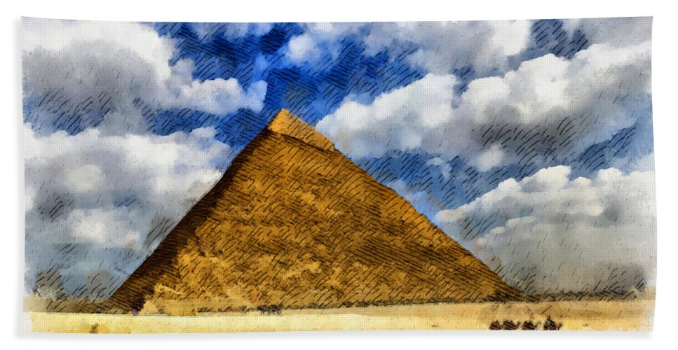 Pyramids Hand Towel featuring the digital art Egyptian Pyramid by Sophie McAulay
