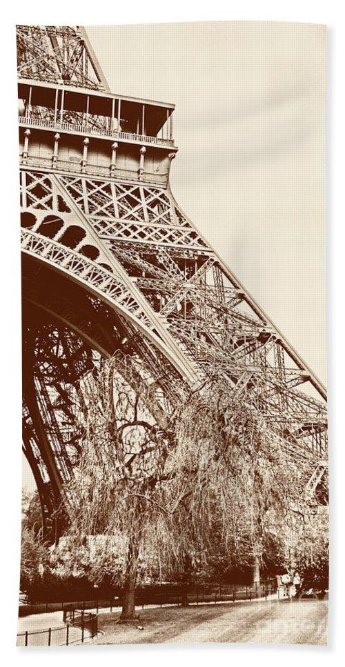 Eiffel Tower Bath Sheet featuring the photograph Eiffel In Sepia by Timothy Hacker
