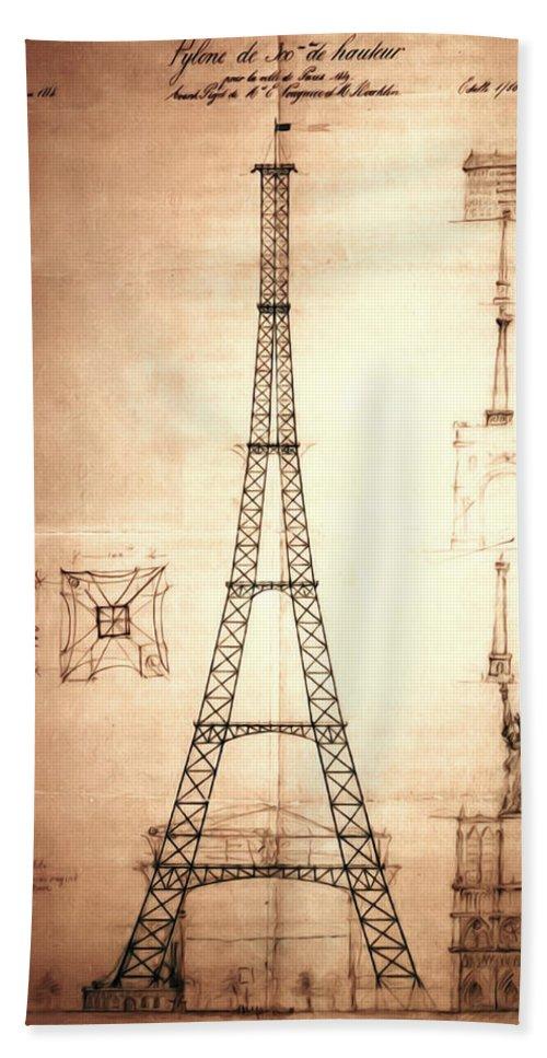 First Bath Sheet featuring the digital art Eiffel Tower Design by Bill Cannon