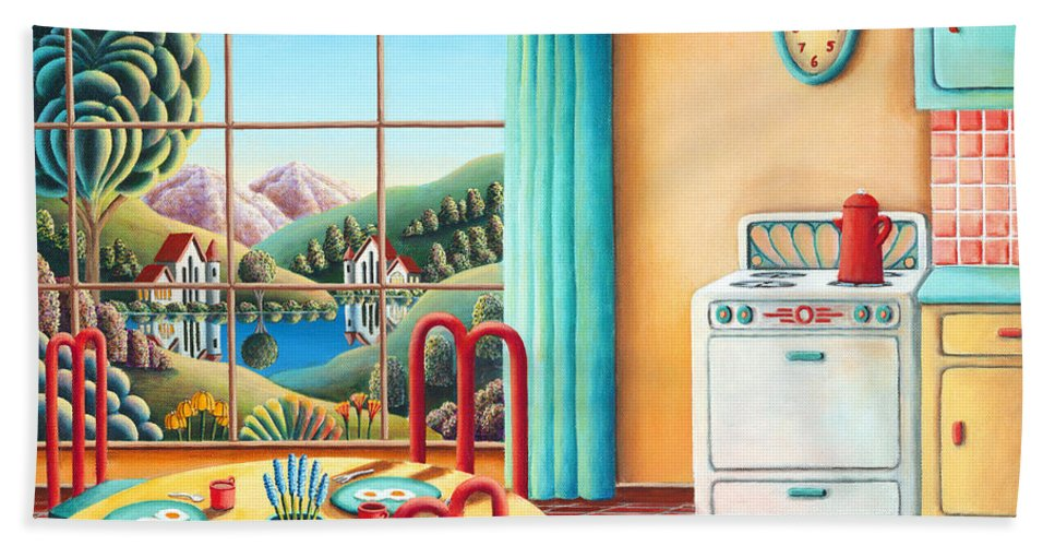 Painting Bath Towel featuring the painting Eight Oclock by MGL Meiklejohn Graphics Licensing