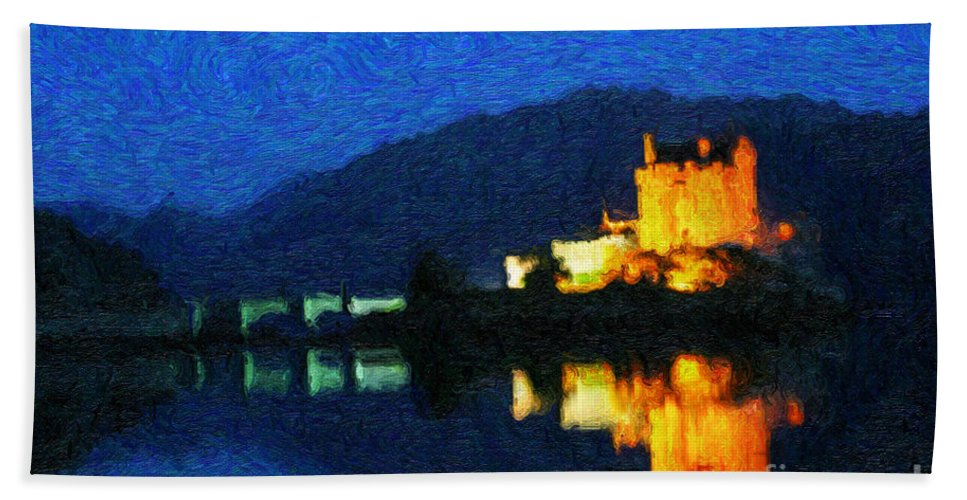 Eilean Donan Castle Bath Sheet featuring the digital art Eilean Donan At Night by Diane Macdonald