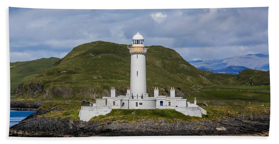 Eilean Musdile Lighthouse Hand Towel featuring the photograph Eilean Musdile Lighthouse by Tom and Pat Cory