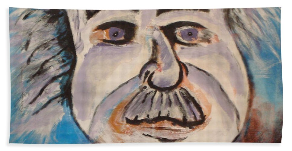 Rick Huotari Bath Sheet featuring the painting Einstein by Rick Huotari