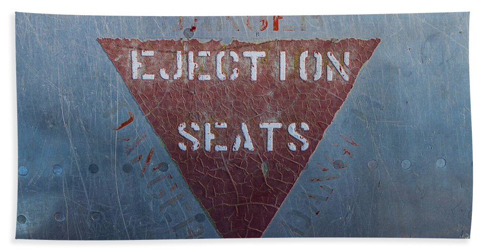 Sign Hand Towel featuring the photograph Ejection Seats by Brigitte Mueller