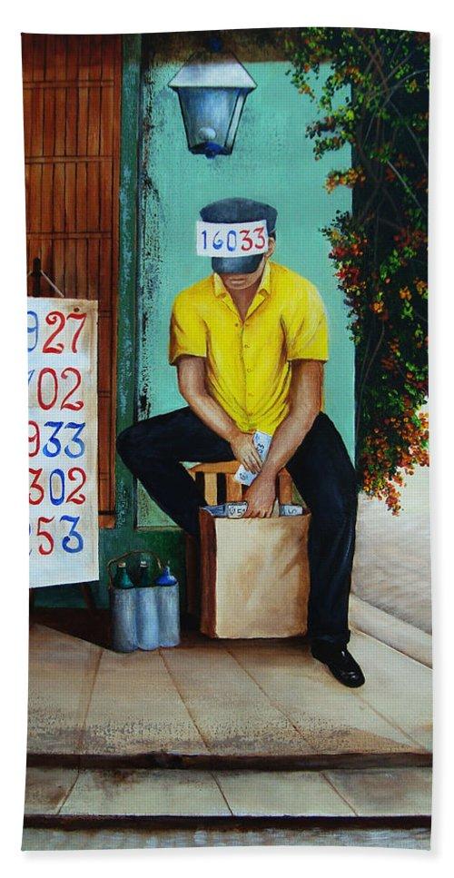 Cuba Bath Sheet featuring the painting El Billetero Del 33 by Dominica Alcantara