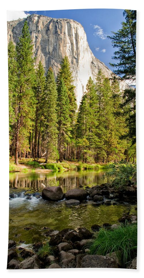 Landscape Reflection Clouds Water Yosemite national Park sierra Nevada Sky Mountains Scenic Nature California Trees Bath Sheet featuring the photograph El Cap And Merced River by Cat Connor
