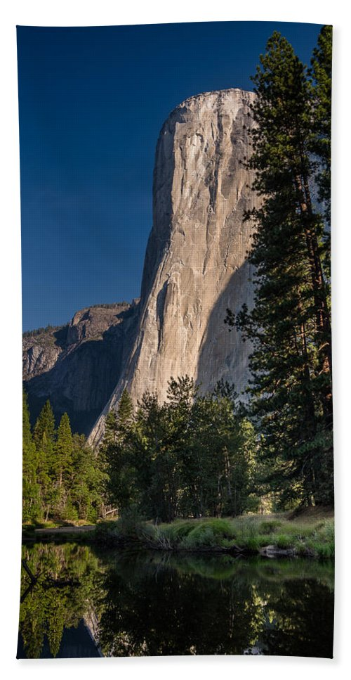 Yosemite National Park Bath Sheet featuring the photograph El Capitan Morning by Greg Nyquist