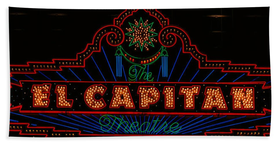 Photography Bath Sheet featuring the photograph El Capitan Theatre Sign In Hollywood by Panoramic Images