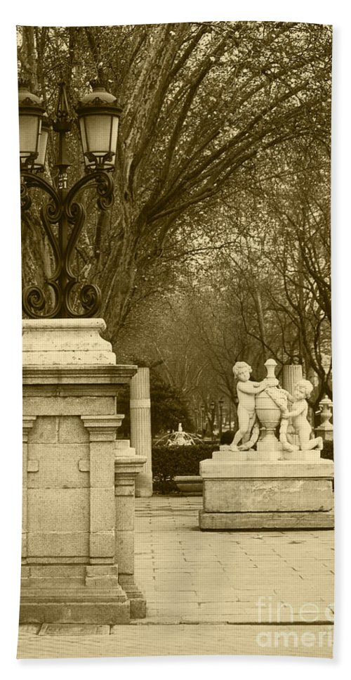 Spain Hand Towel featuring the photograph El Prado Boulevard Madrid Spain by James Brunker