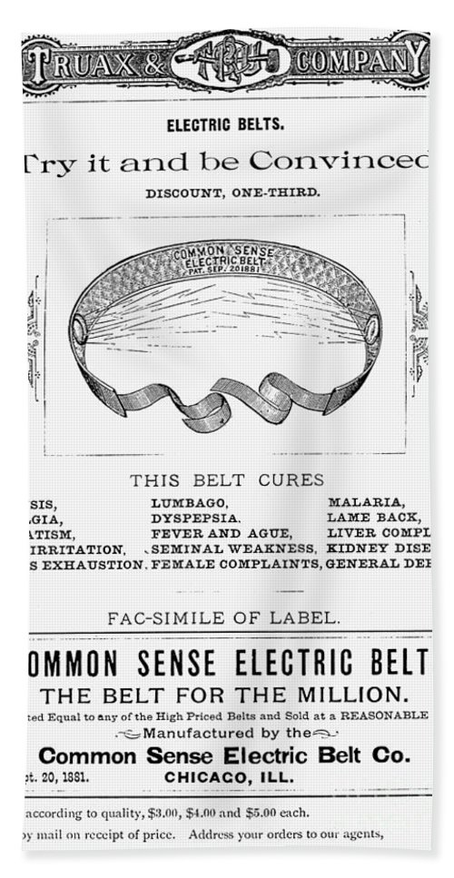 19th Century Bath Sheet featuring the photograph Electric Belt Ad by Granger