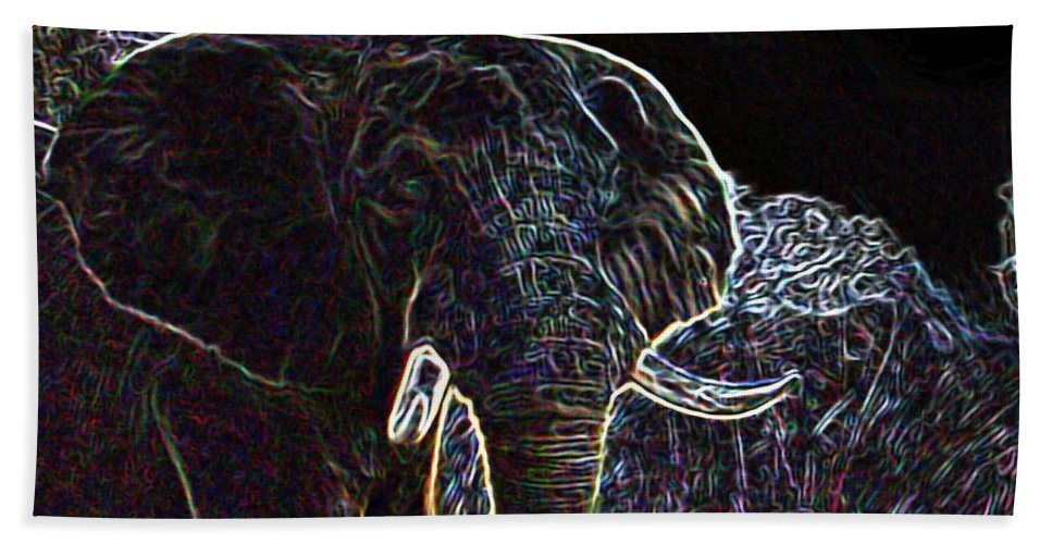 Africa Bath Sheet featuring the painting Electric Elephant by George Pedro