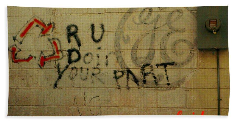 Graffiti Bath Sheet featuring the photograph Electric Graffiti by Chris Berry