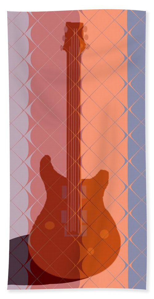 Guitar Hand Towel featuring the painting Electric Guitar Solo by Pharris Art
