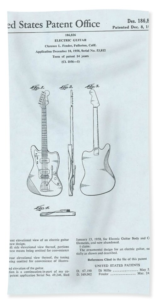 Electric Bath Sheet featuring the drawing Electric Guitar Patent Drawing On Blue Background by Steve Kearns