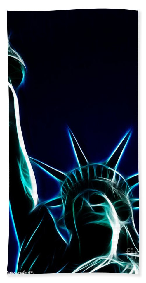 Statue Of Liberty Bath Sheet featuring the photograph Electric Liberty by Tommy Anderson