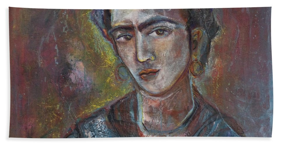 Frida Kahlo Hand Towel featuring the painting Electric Light Frida by Laurie Maves ART