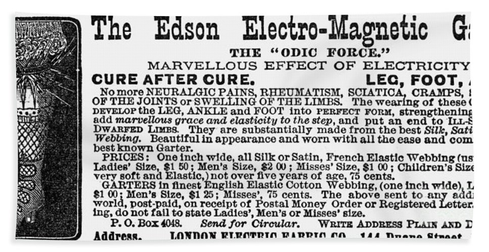 1881 Bath Sheet featuring the photograph Electro-magnetic Garter by Granger
