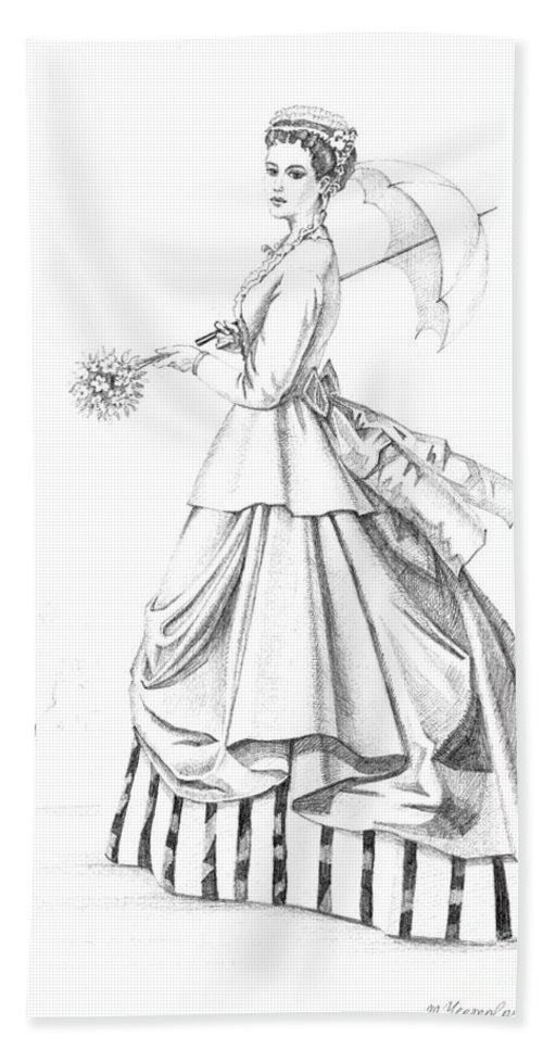 Sketch Bath Sheet featuring the painting Elegant Lady by Margaryta Yermolayeva
