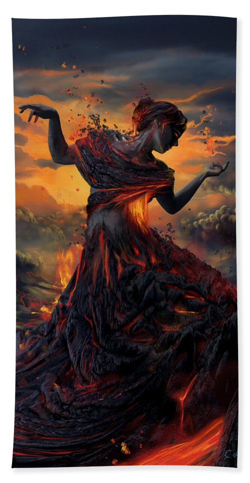 Fire Bath Towel featuring the digital art Elements - Fire by Cassiopeia Art