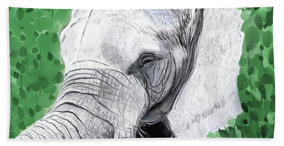 Elephant Bath Sheet featuring the painting Elephant 1 by Jeanne Fischer