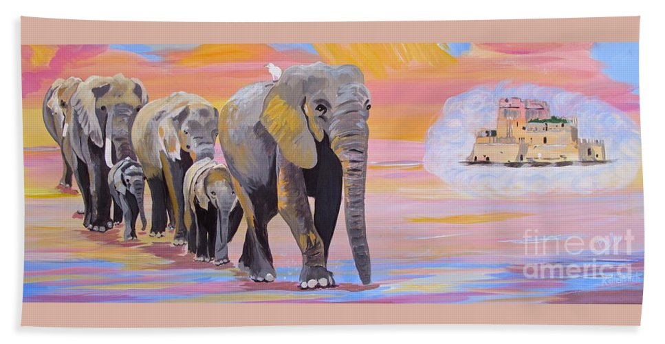 Elephants Bath Sheet featuring the painting Elephant Fantasy Must Open by Phyllis Kaltenbach
