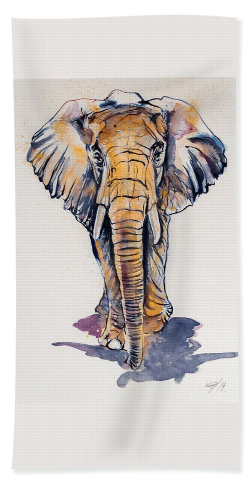 Elephant Bath Sheet featuring the painting Elephant In Gold by Kovacs Anna Brigitta