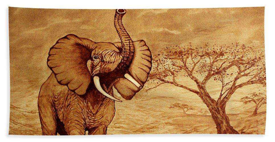 Elephant Hand Towel featuring the painting Elephant Majesty Original Coffee Painting by Georgeta Blanaru