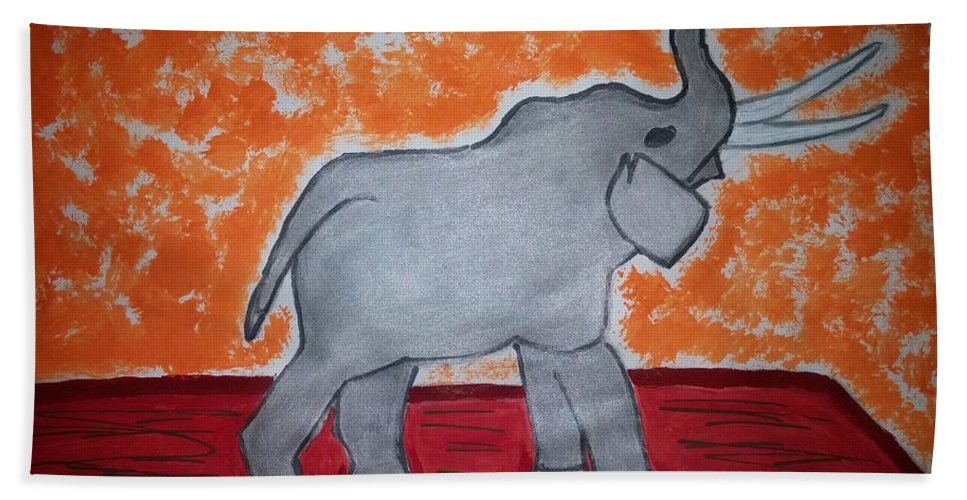 Floor Bath Sheet featuring the painting Elephant N Time Out by Earnestine Clay