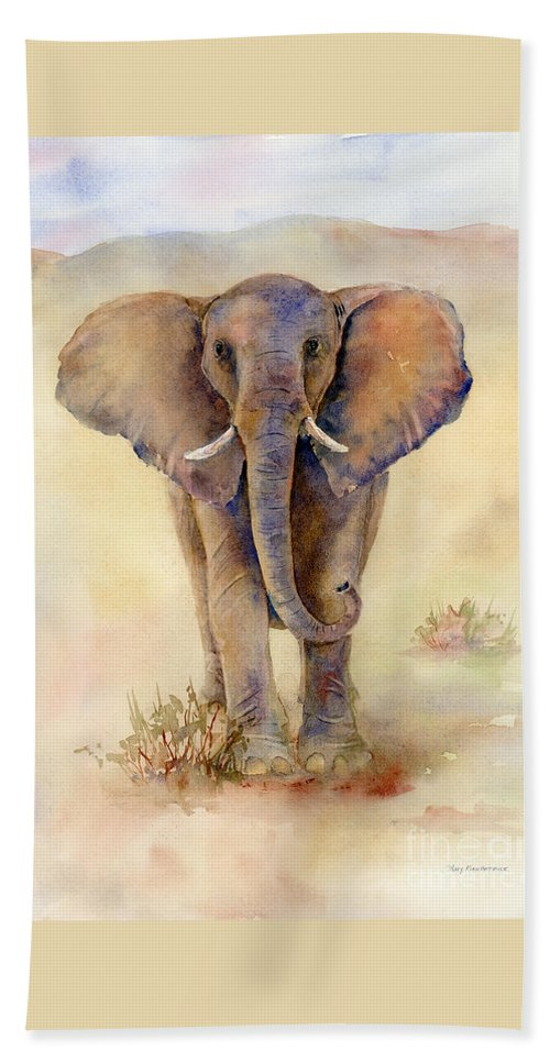 Elephant Hand Towel featuring the painting Elephant by Amy Kirkpatrick