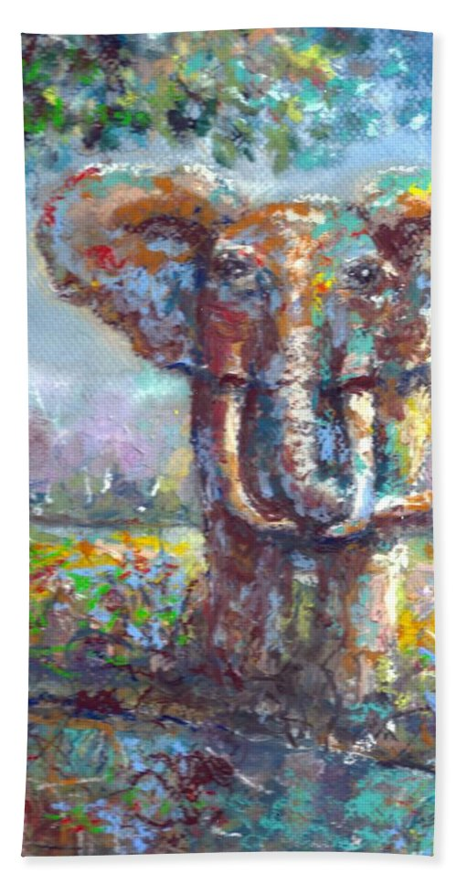 Elephant Hand Towel featuring the painting Elephant Thirst by Bernadette Krupa
