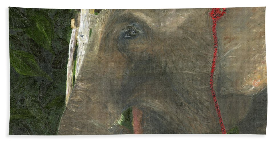 Elephant Hand Towel featuring the painting Elephant Under His Thumb by Belinda Greb