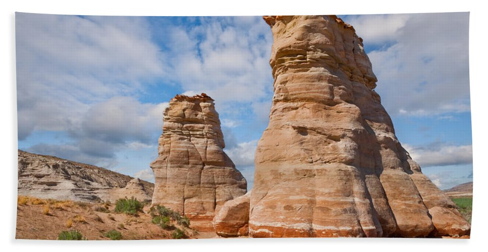Arid Climate Hand Towel featuring the photograph Elephant's Feet Rock Formation by Jeff Goulden