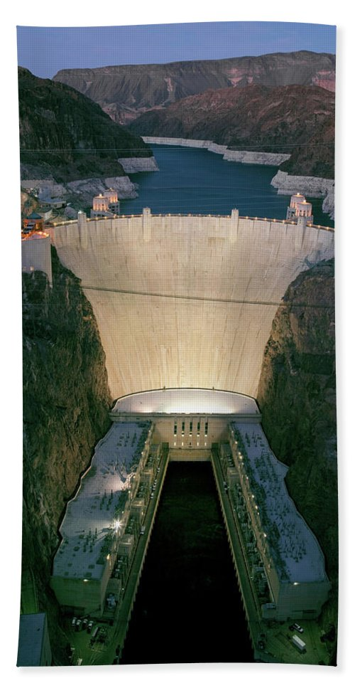 Photography Bath Sheet featuring the photograph Elevated View At Dusk Of Hoover Dam by Panoramic Images