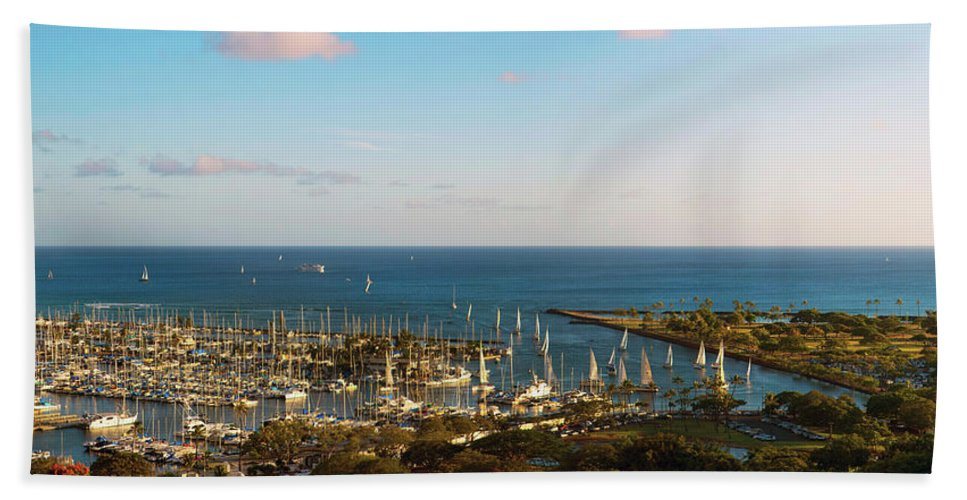 Photography Bath Sheet featuring the photograph Elevated View Of Boats At A Harbor by Panoramic Images