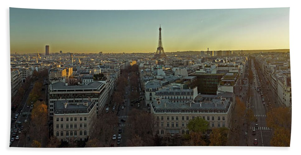 Photography Bath Sheet featuring the photograph Elevated View Of Paris From Arc De by Panoramic Images