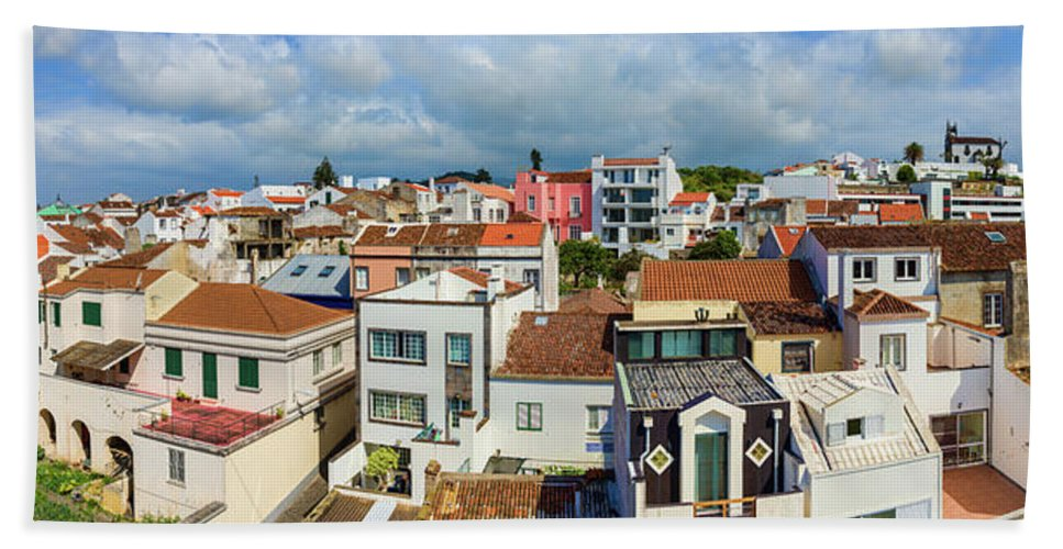 Photography Bath Towel featuring the photograph Elevated View Of The Cityscape, Ponta by Panoramic Images