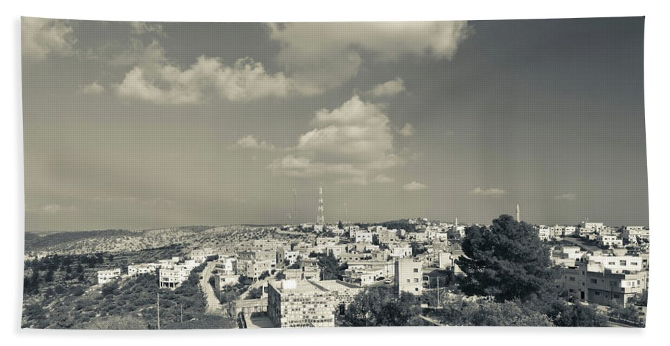 Photography Bath Sheet featuring the photograph Elevated View Of The New Town, Umm by Panoramic Images