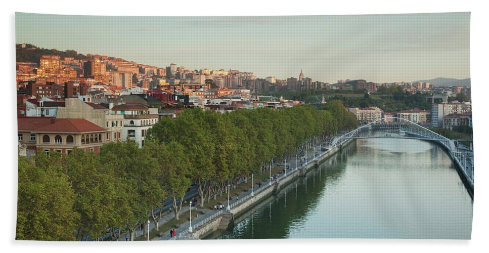 Photography Bath Sheet featuring the photograph Elevated View Of The Zubizuri Bridge by Panoramic Images