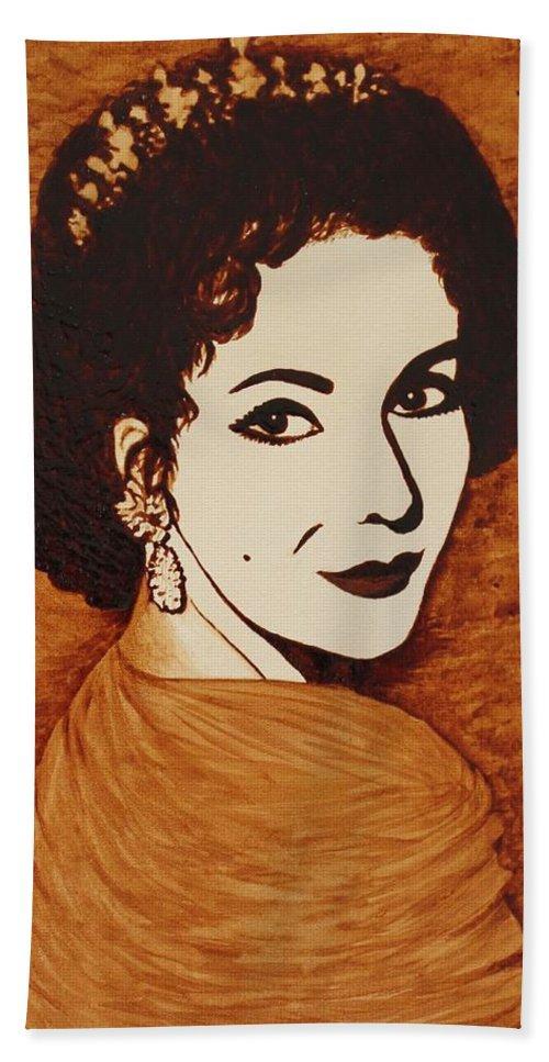 Elizabeth Taylor Original Coffee Painting Art Hand Towel featuring the painting Elizabeth Taylor Original Coffee Painting On Paper by Georgeta Blanaru