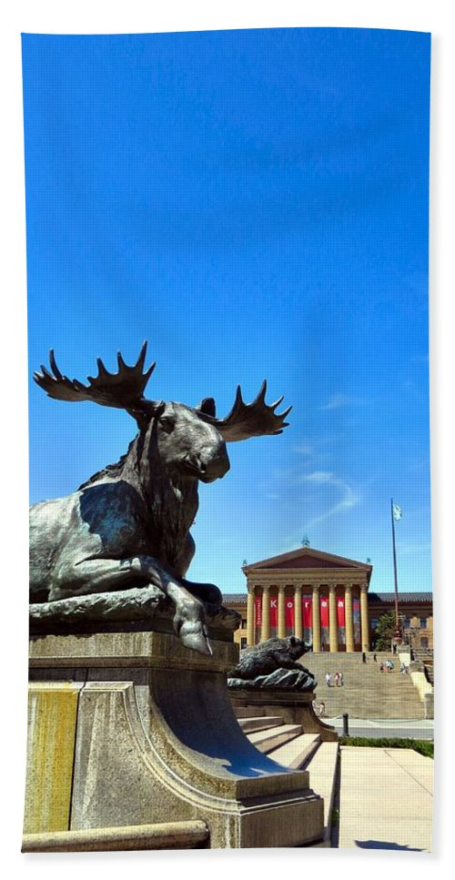 Philadelphia Bath Sheet featuring the photograph Elk And Monument by Art Dingo