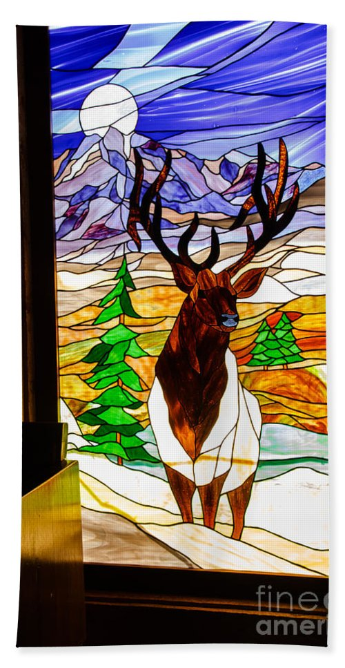 Stanied Glass Window Hand Towel featuring the photograph Elk Stained Glass Window by Robert Bales