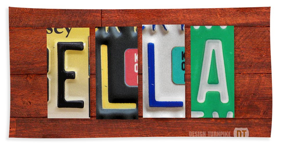License Hand Towel featuring the mixed media Ella License Plate Name Sign Fun Kid Room Decor. by Design Turnpike