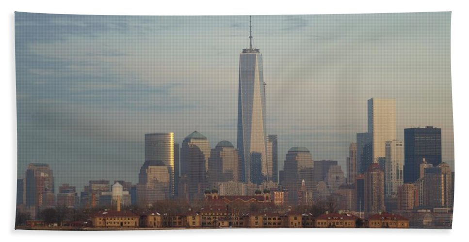 Freedom Hand Towel featuring the photograph Ellis Island And The Freedom Tower by John Wall