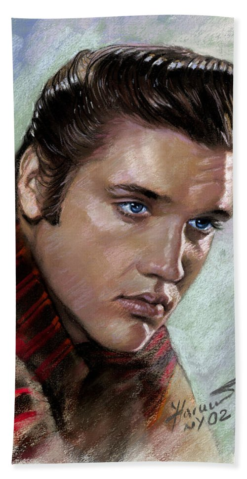 Elvis Presley Bath Sheet featuring the drawing Elvis King Of Rock And Roll by Viola El