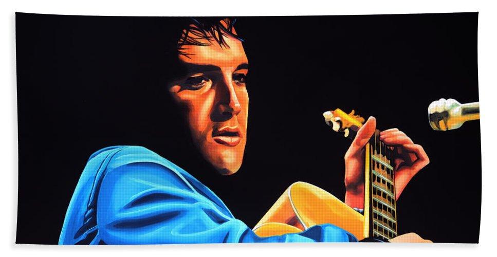 Elvis Bath Towel featuring the painting Elvis Presley 2 Painting by Paul Meijering