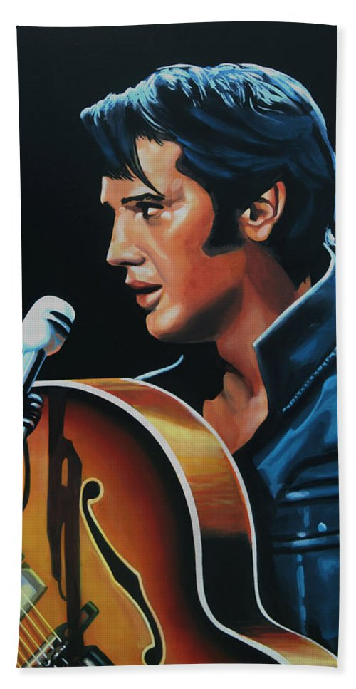 Elvis Bath Towel featuring the painting Elvis Presley 3 Painting by Paul Meijering