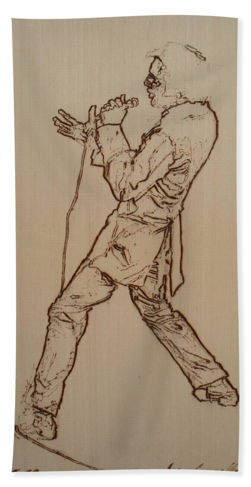 Pyrography Hand Towel featuring the pyrography Elvis Presley - If I Can Dream by Sean Connolly