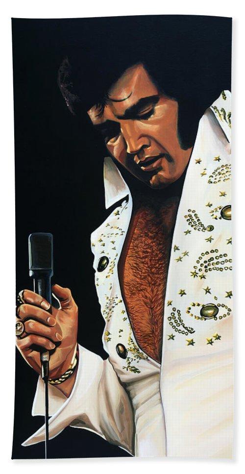 Elvis Hand Towel featuring the painting Elvis Presley Painting by Paul Meijering