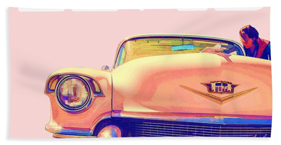 Elvis Bath Sheet featuring the photograph Elvis Presley Pink Cadillac by Edward Fielding