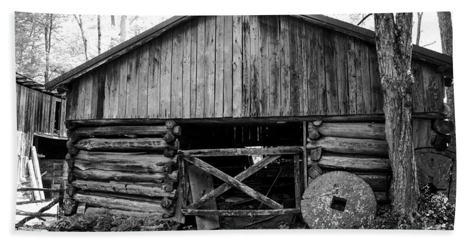 Ely Mill Roaring Fork Motor Trail Bath Sheet featuring the photograph Ely's Mill Roaring Fork Motor Trail Smoky Mountains - Bw by Cynthia Woods